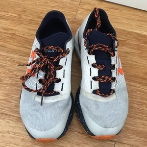 Orange/blue/white underarmour tennis shoes size5.5